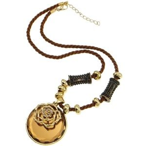 New Boho Chic Sienna Crystal Bead Flower Necklace